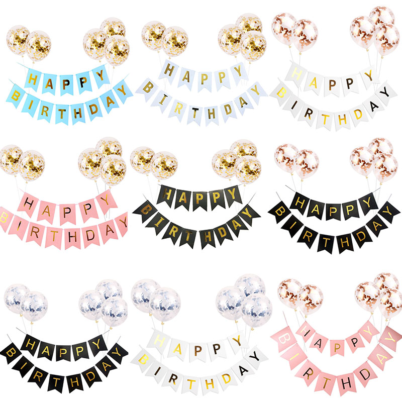 1set Happy Birthday Letter Banner Rose Gold Confetti Balloons Baby Shower Birthday Party Decorations Boy Girl Kids Party Favors 1