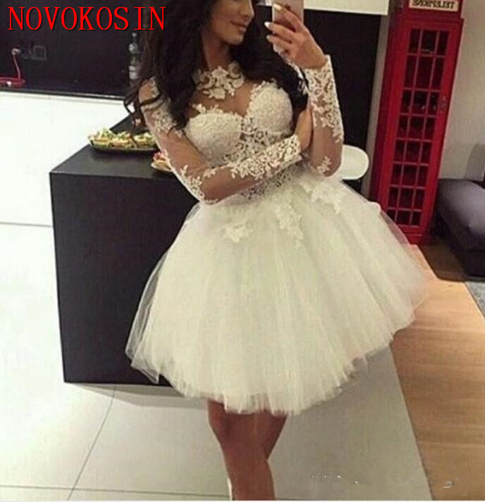 Simple   Cocktail     Dresses   2019 White Tulle Illusion Long Sleeve Lace Applique Short Mini Ball Gown Party Formal Homecoming Gown