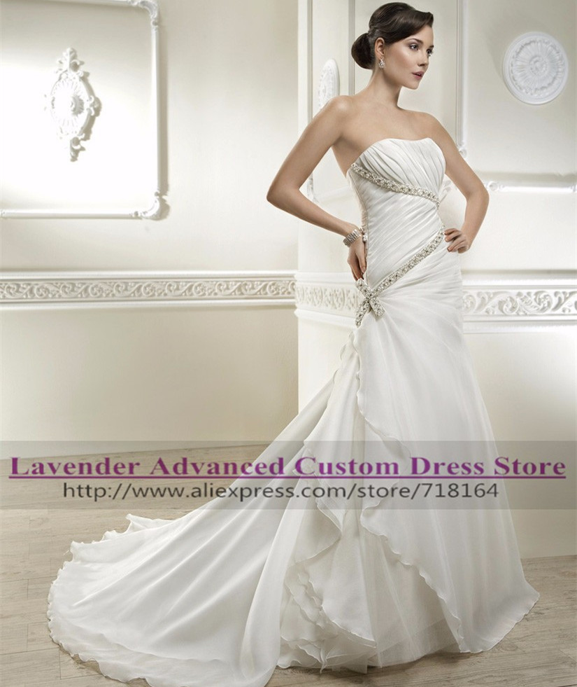 Trumpet Style Wedding Gowns: Brand New Style Trumpet Organza Wedding Dress With