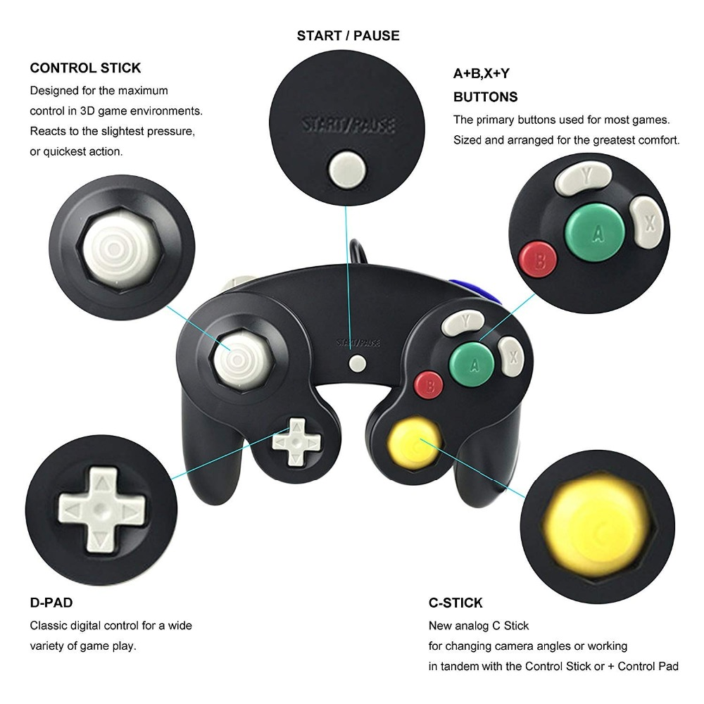 Image 3 - For Gamecube For NGC Controller GC Port PC USB Wired Gamepad Joypad Joystick For Nintendo For MAC Computer-in Gamepads from Consumer Electronics