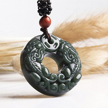Drop shipping XinJiang HeTian Jade Pendant Necklace Jade Brave Troops Lucky Amulet Necklace With Chain For Men Women Gift недорого