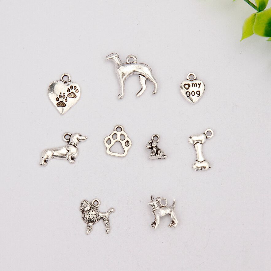 100 pcs Hot Sell Fashion Antique Silver Greyhound&Dog paw prints&Bone&Poodles Mix Charms Pendants Jewelry DIY Holiday Gifts A889