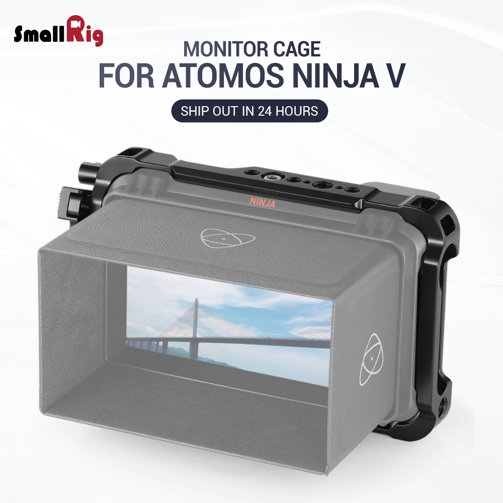 SmallRig Director's Monitor Cage for Atomos Ninja V Feature with NATO rails on the top and bottom 2209
