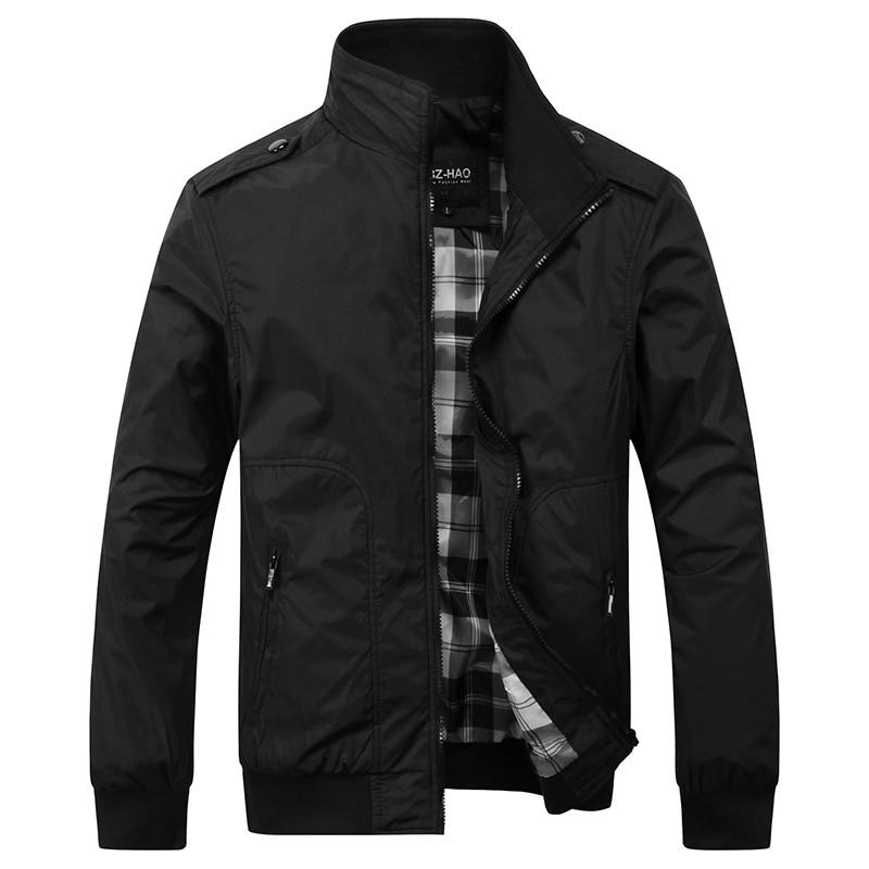 2017 New Men's Casual Jacket Collar Male Fashion Solid Color Men Business Jacket Coats Brand Black Green Khaki Size M-4XL