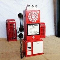 A PCS Home restaurant bar decoration metal retro phone decoration model Phone booth craft photography props AP5291629