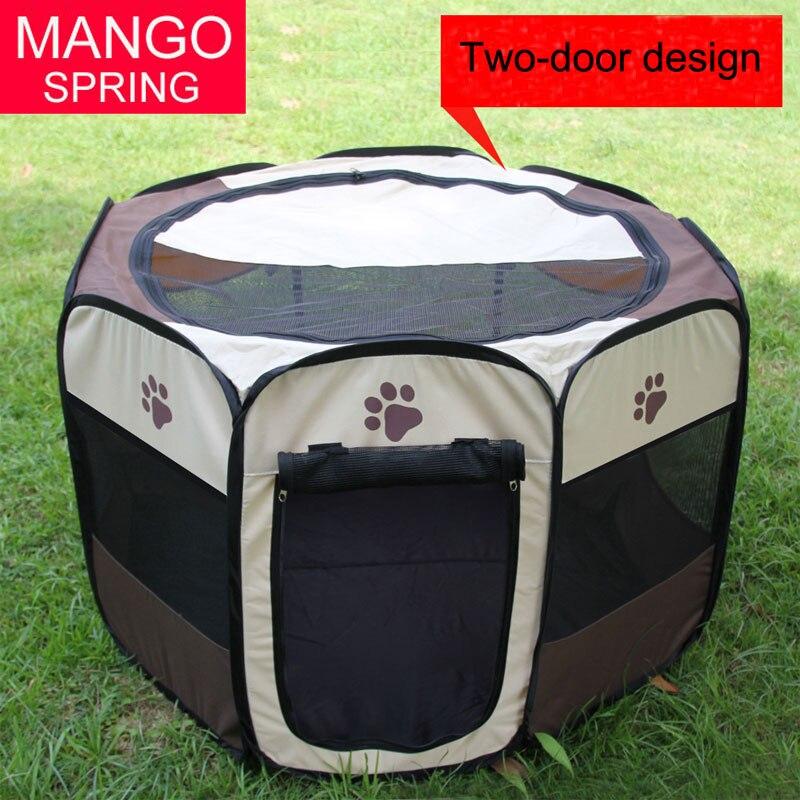 Portable Pet Dog Round Playpen Grey Beige