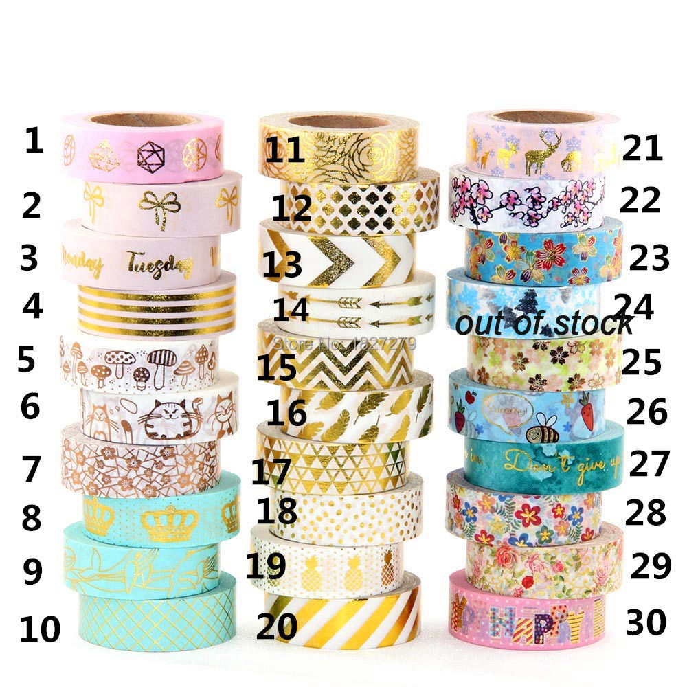 1Pc/Pack Size 15 mm*10m Kawaii Scrapbooking Tools DIY Stripes,CATS  & Dots Japanese Paper Foil Washi Tapes Masking Tape