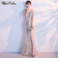 PotN Patio Sexy V Neck Slit Mermaid Prom Dresses Shoulder Straps Sleeveless Floor Length Sequined Prom