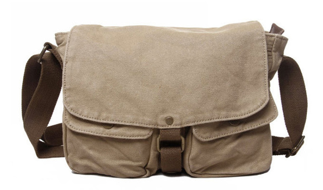 Washed Canvas Genuine Leather Sling Bag Men S Messenger Shoulder Leisure