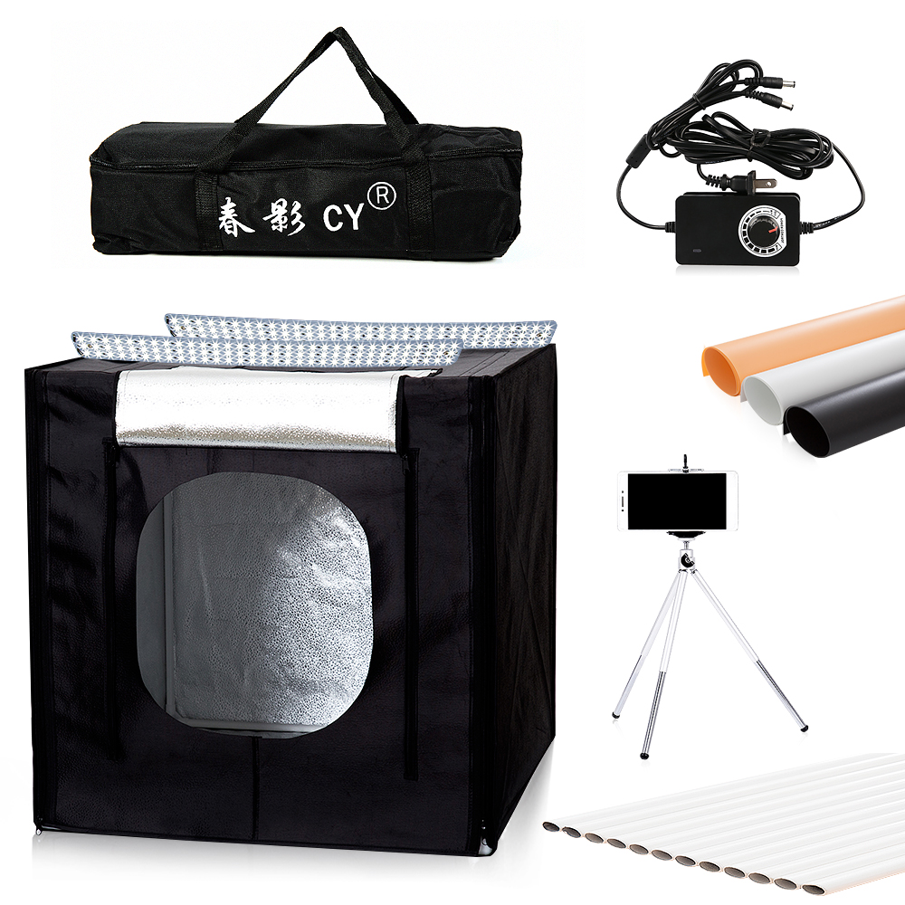 CY 70cm LED Photo Studio Softbox Light Tent Soft Box fotostudio Dimmable photo light box for
