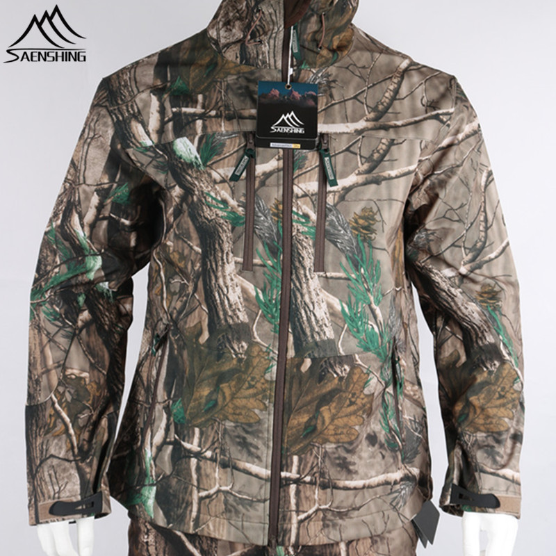 SAENSHING Spring Hunting Jackets Men Waterproof Breathable Camouflage Tactical Jacket Fleece Warm Outdoor Fishing Coats Male