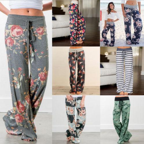 Femmes Boho Pantalon Floral Casual Loose Vintage Large Pantalon Palazzo Pant Ladies Womens Flower Pants Capris