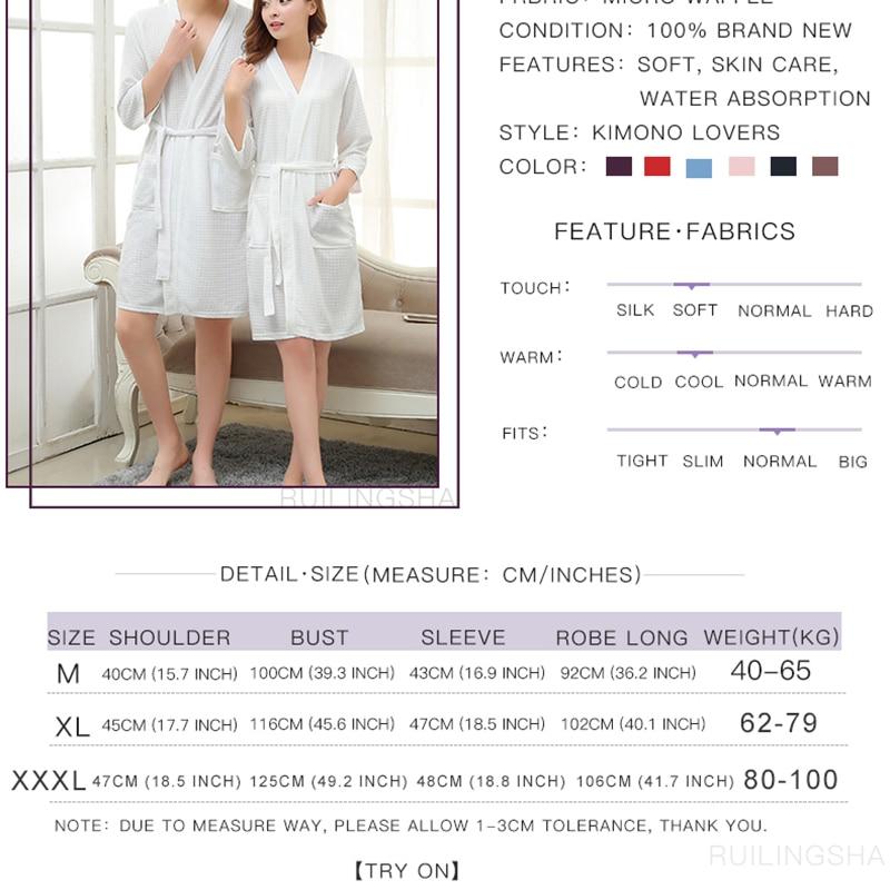 Lovers Summer Water Absorption Fashion Towel Bath Robe Men Sexy Kimono Waffle Bathrobe Mens Plus Size Dressing Gown Male Robes #5
