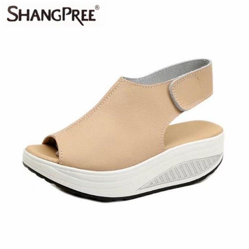 2017 Fashion Summer Women Sandals Women Wear-resistant non-slip breathable Slope Platform Head Leather Sandals ladies shoes summer fashion sandals women shoes non slip hook
