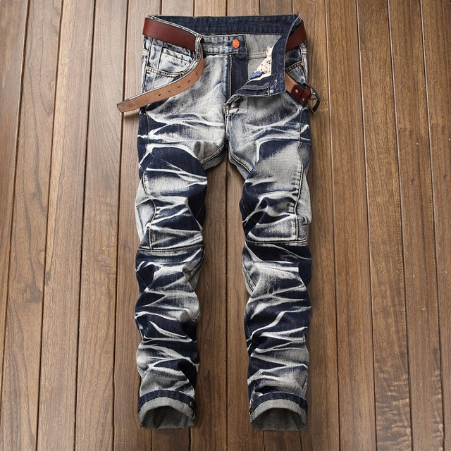 2018 High Quality Men  Casual Jeans Coated Slim Straight Pleated Biker Jeans Pants Male Denim Casual Pants Plus Size 42
