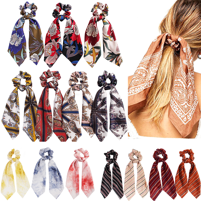 Sale Elegant Women Print Elastic Hair Band Fashion Boho Bandana Hair Scarf Ladies   Headwear   Hair Ribbon Girls Hair Accessories