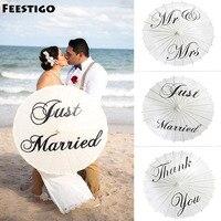 Feestigo Just Married Mr Mrs Painted Paper Umbrella Parasol For Wedding Photographs Decoration THANK YOU Wedding
