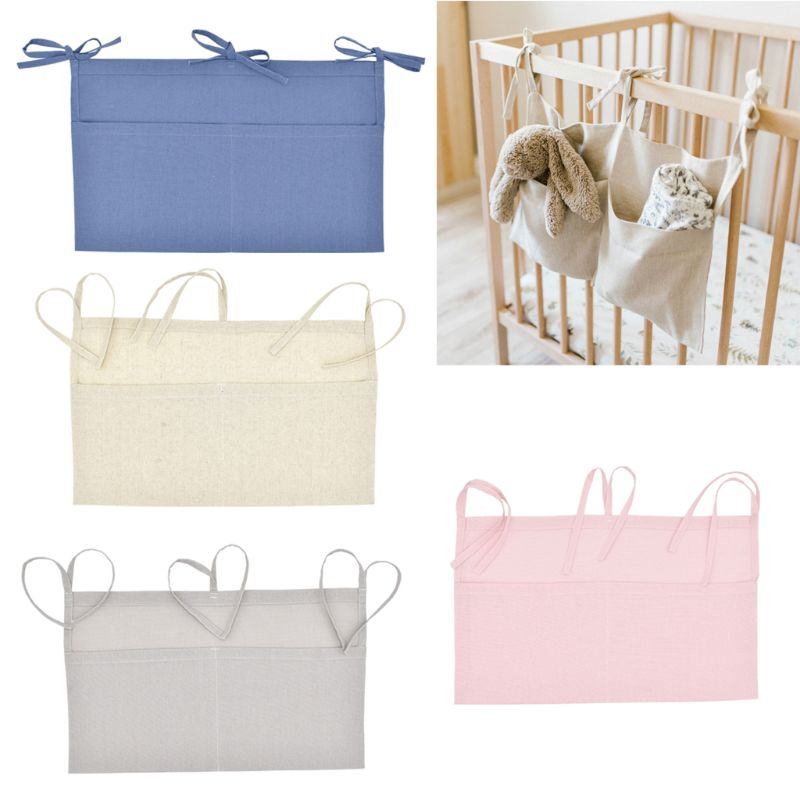 Baby Crib Organizer Bed Hanging Storage Bag For Baby Essentials Multi-Purpose Baby Bed Organizer Hanging Diaper Toys Tissue