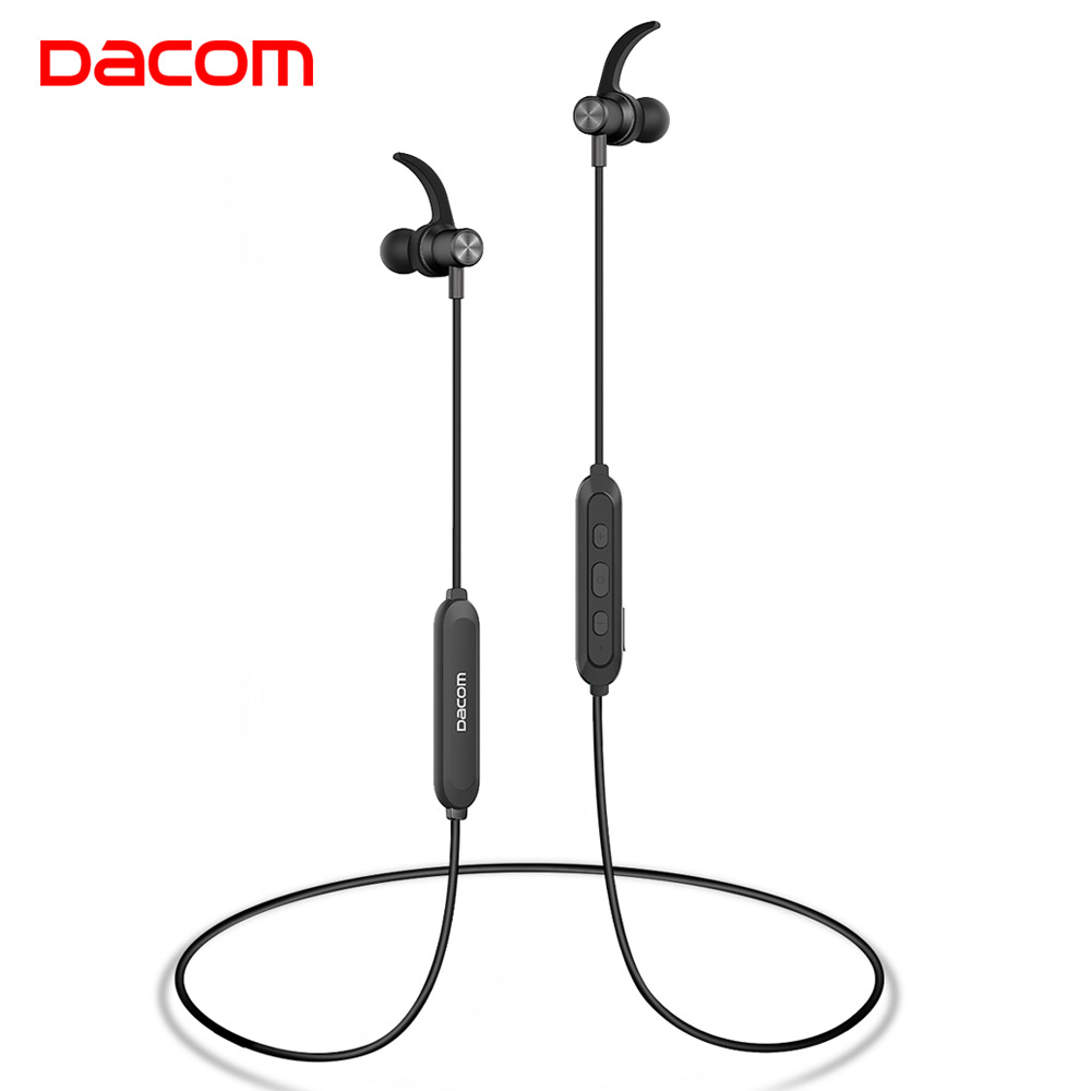 DACOM Écouteurs Bluetooth 5.0 Stéréo Sport Sans Fil Casque À La Sueur de Course Casque Dans L'oreille Moniteur pour Samsung Galaxy iPhone