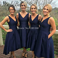 Azul Marinho com decote em v Vestidos Elegantes da Festa de Casamento Bridemaid Vestidos Vestido Invitada Boda Vestidos de Comprimento Chá Vestido Gaun Pesta