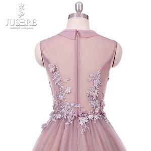 Image 5 - Real Photo Blush vestido longo de festa Paux V Cổ Ảo Giác Vạt Áo với Floral Appliques MỘT dòng Hoa Vải Tuyn Prom ăn mặc