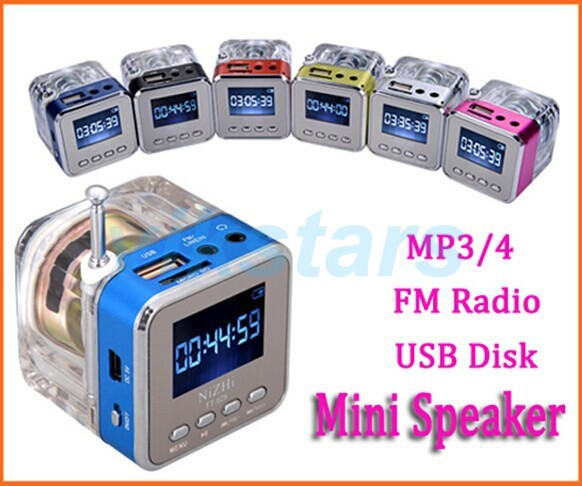 Crystal Light Mini Digital Högtalare Musik bärbar radio Micro SD / TF USB-skiva mp3 FM-radio LCD-display högtalare klockradio RDA028