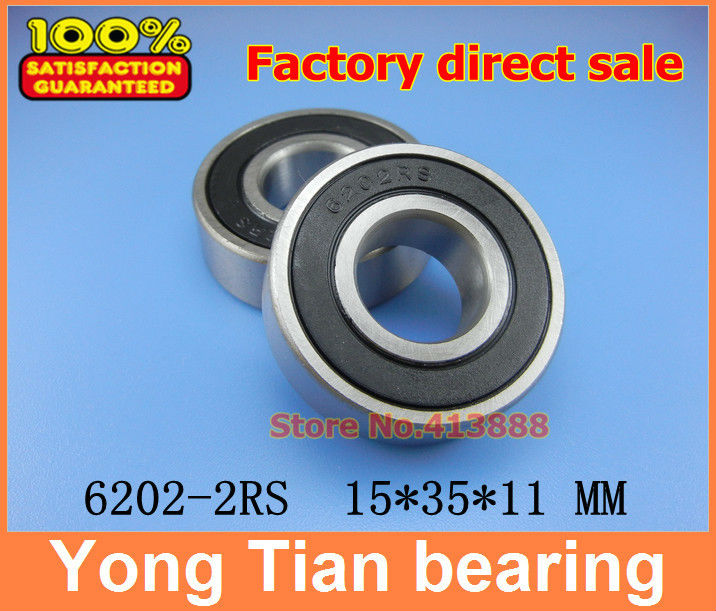 10pcs free shipping double Rubber sealing cover deep groove ball bearing 6202-2RS 15*35*11 mm 608 2rs 608rs 608 2rs 8mmx22mmx7mm double purple rubber sealing cover deep groove ball bearing for skate scooter abec 9