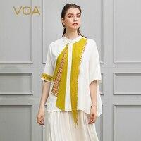 VOA белый шелк Свободные Для женщин футболка офисные женские топы большой Размеры футболка осень Bat Половина рукава желтый лоскутное Harajuku B578