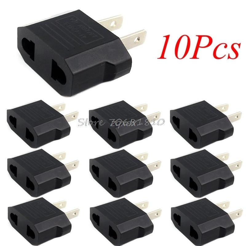 10Pcs European Euro EU to US USA Plug Travel Charger Adapter Outlet Converter Z09 Drop ship