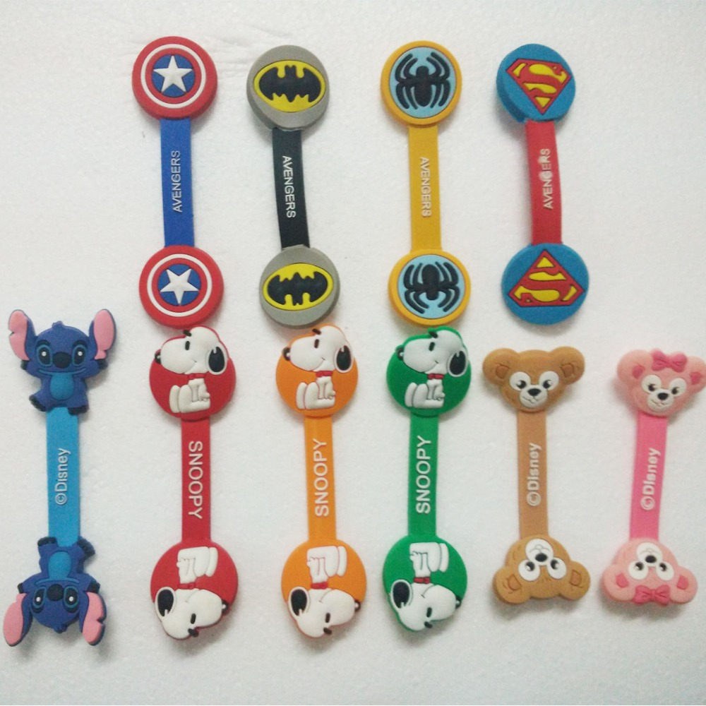 1000pcs/lot Cable Winder Superman, Spiderman Earphone Headphone Silicone Cable Wire Cord Organizer Holder For iphone samsung