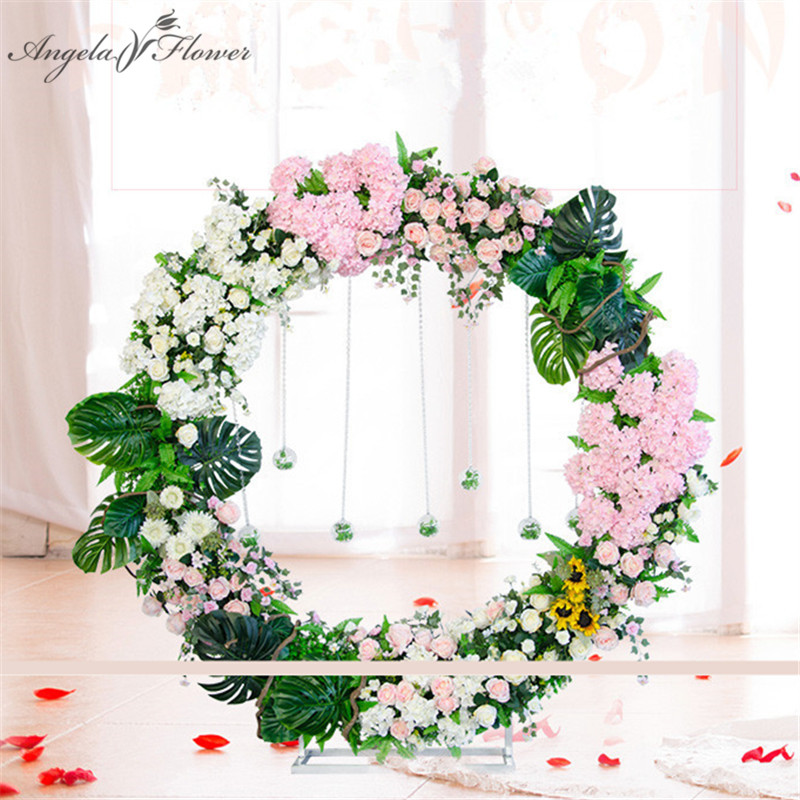 Artificial flower arch iron stand with silk floral DIY wedding window decor ornaments round green wall