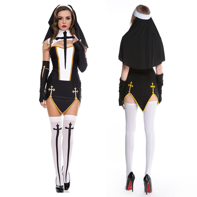 2019 Sister Uniform Adult Sexy Nun Cosplay Halloween Costume Fantasias Female Dress Festival Party Disguise Role Play Games Wear