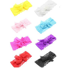 Fashion infant girl hair accessories Girls Lace Big Bow Hair Band kids elastic hair bands hair tie band diademas pelo lovely(China)