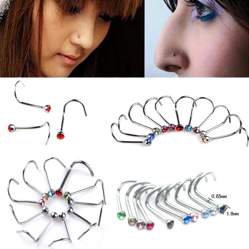 Wholesale Bulk 30pcs Surgical Stainless Steel Crystal Rhinestone Nose Bone Stud Ring Body Piercing Jewelry Summer Style(China)