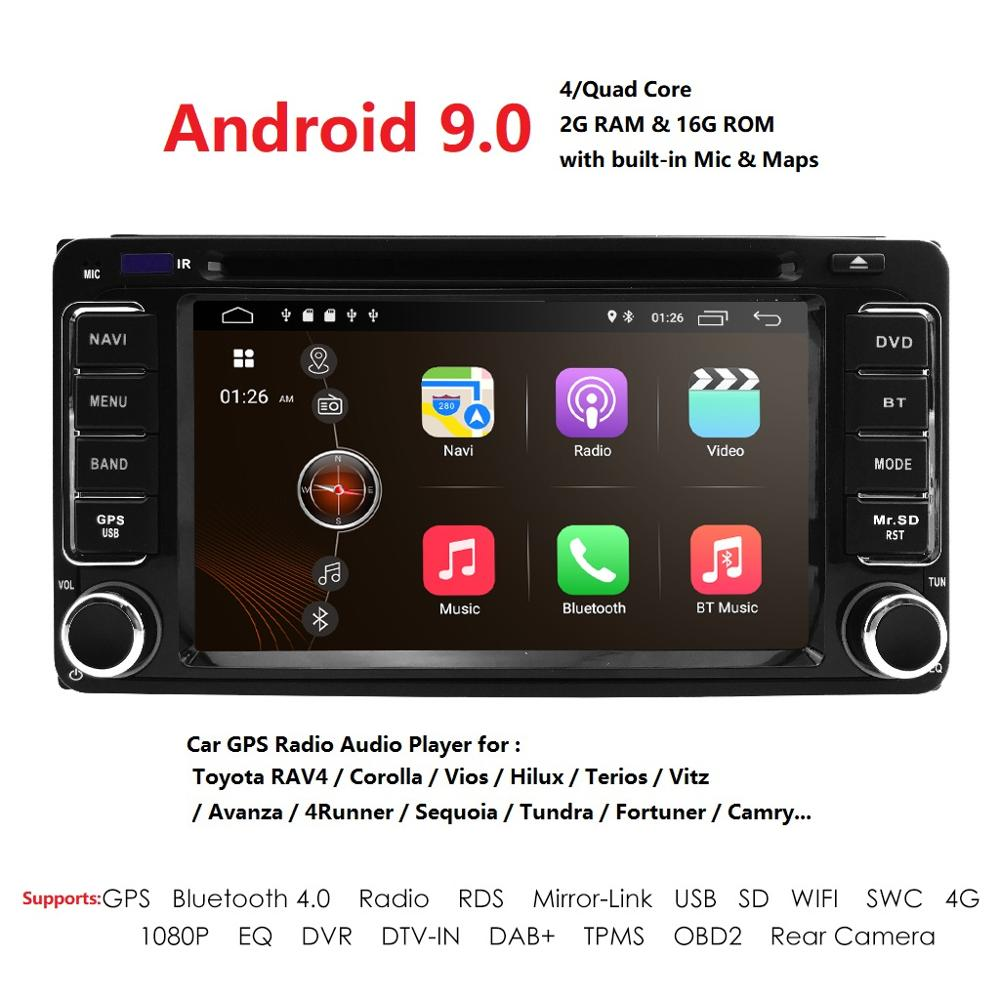 Universal 2Din CarDVD Android9.0 Radio Multimedia Player Fit Toyota 2GB+16G GPS Navigation Fast Boot TPMS DVR DAB+SWC BT DVBT SD
