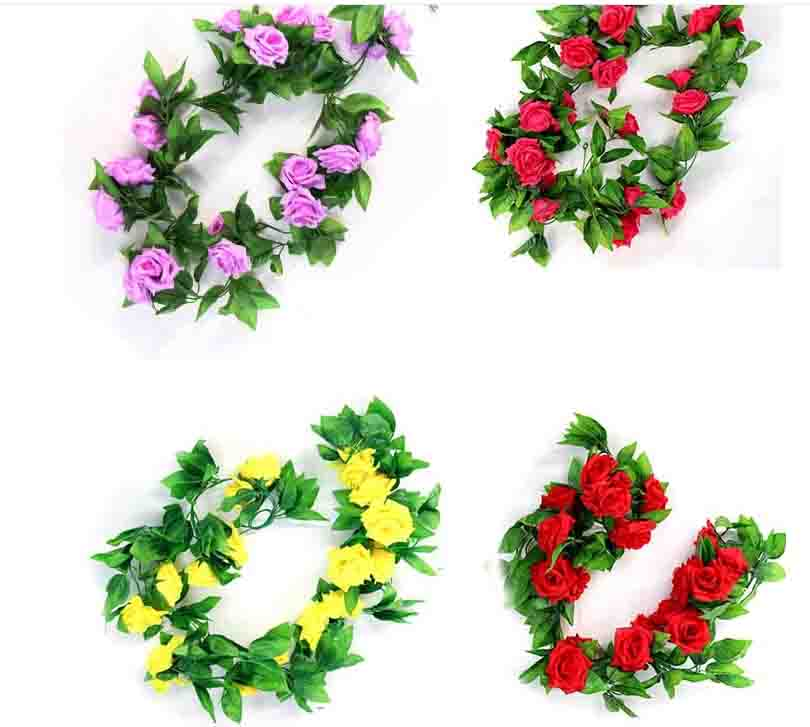 festive & party supplies 16 head artificial flower wedding decoration background wall rose simulation flowers row rose vine
