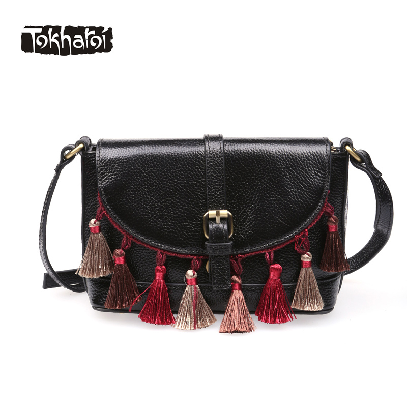 Tokharoi Brand National Women Genuine Leather Flap Bag Quality Day Clutches Cover Shoulder Bag Vintage Tassel Lock Design Purse