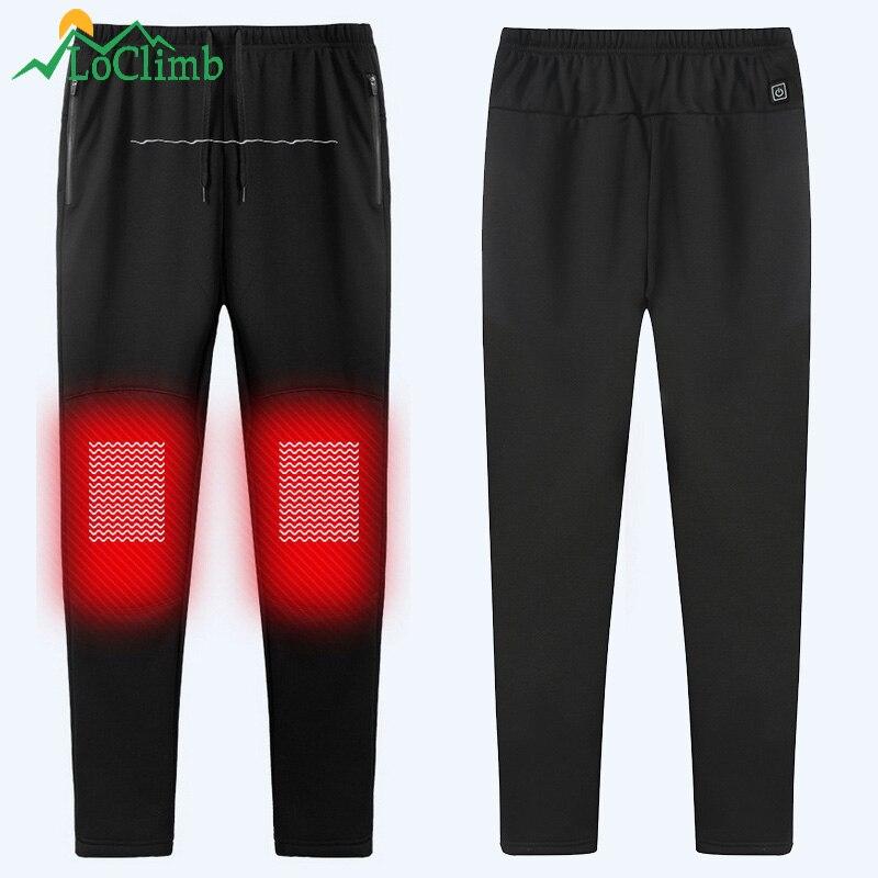LoClimb USB pantalon chauffant homme hiver chaud Sport pantalon extérieur Trekking Ski Camping randonnée pantalon chauffant pour homme AM362