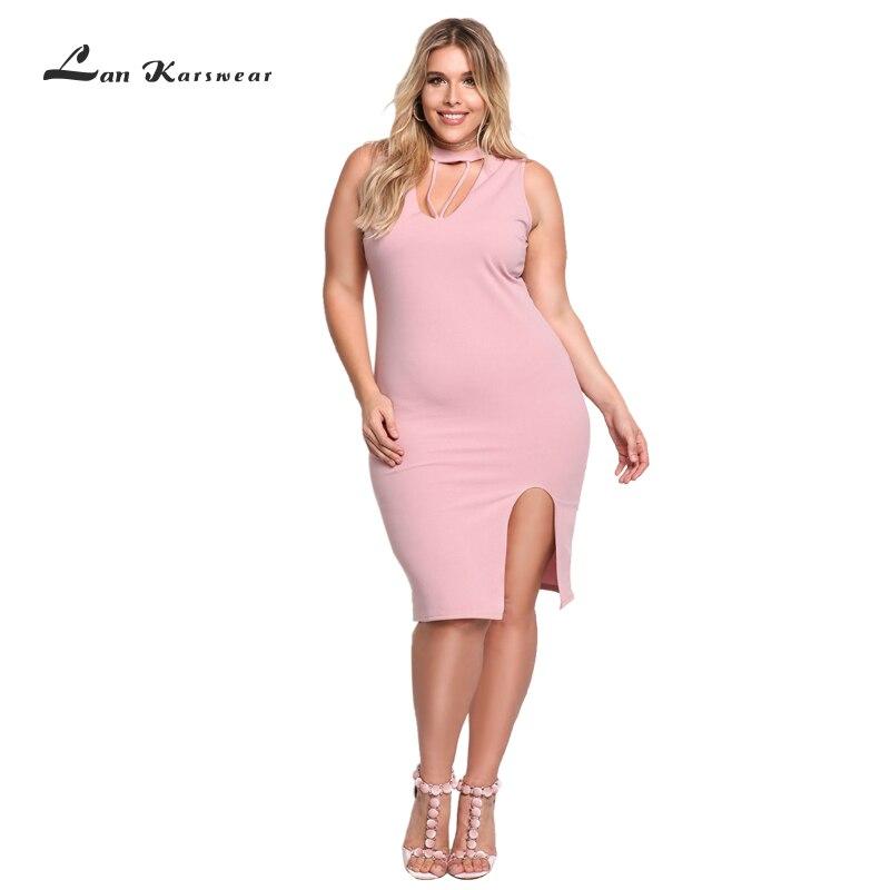 Yeni Artı Boyutu Yaz Elbiseler Kadın Ince Kolsuz Kısa Parti Bodycon Elbise Seksi Kadın Gece Kulübü Giyim Ofis Pembe Tüp Elbise