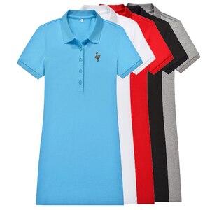 Женская Повседневная рубашка-поло, однотонная хлопковая приталенная рубашка с короткими рукавами и принтом большой лошади, модель V1 на лет...