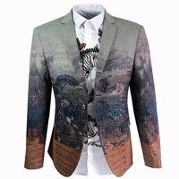 Unique Design European Men S Business Casual Printed Suit High Quality Autumn Long Sleeve Suit Male