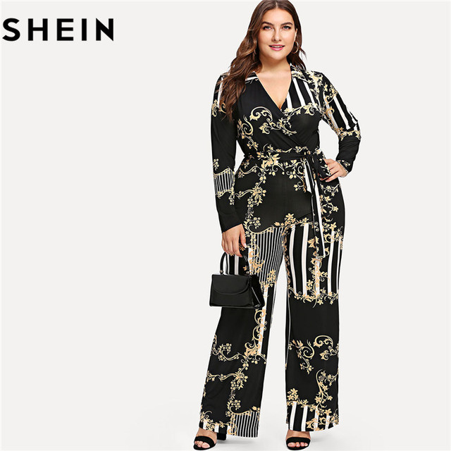 adb2b98df63b6 SHEIN Striped Print Black V neck Belted Plus Size Women Jumpsuits Autumn  Long Sleeve Surplice Wrap