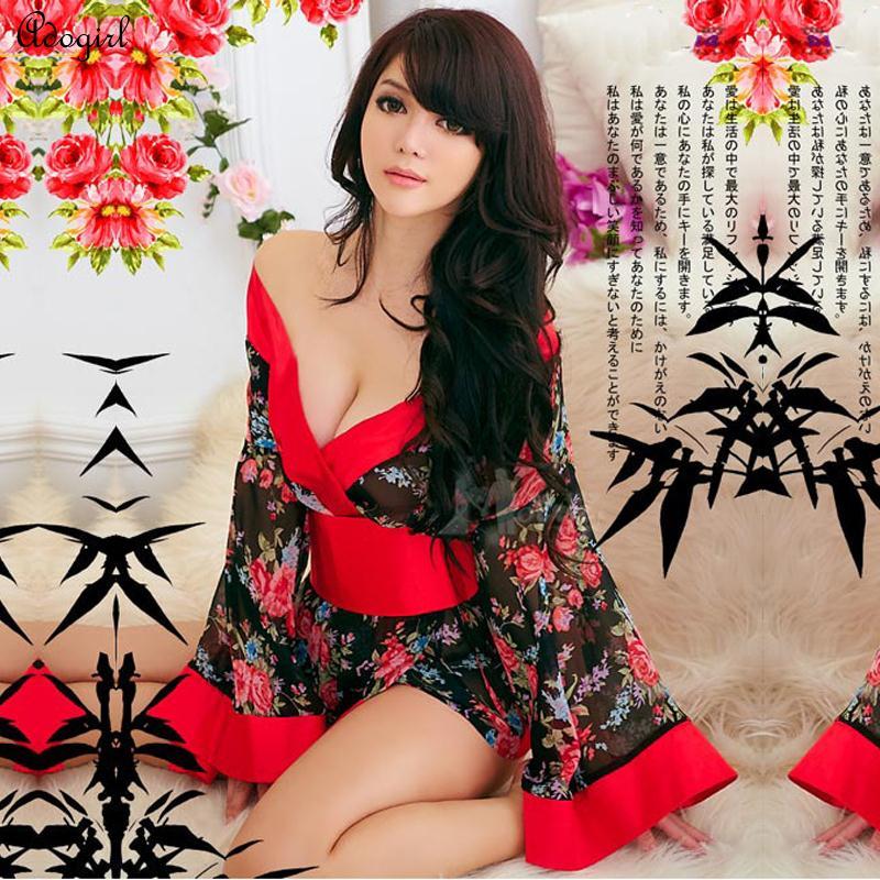 Japanese Kimono Cosplay Geisha Dress Cosplay For Women Top Fashion Sexy V Neck Floral Print Fancy Transparent Costume Kimono