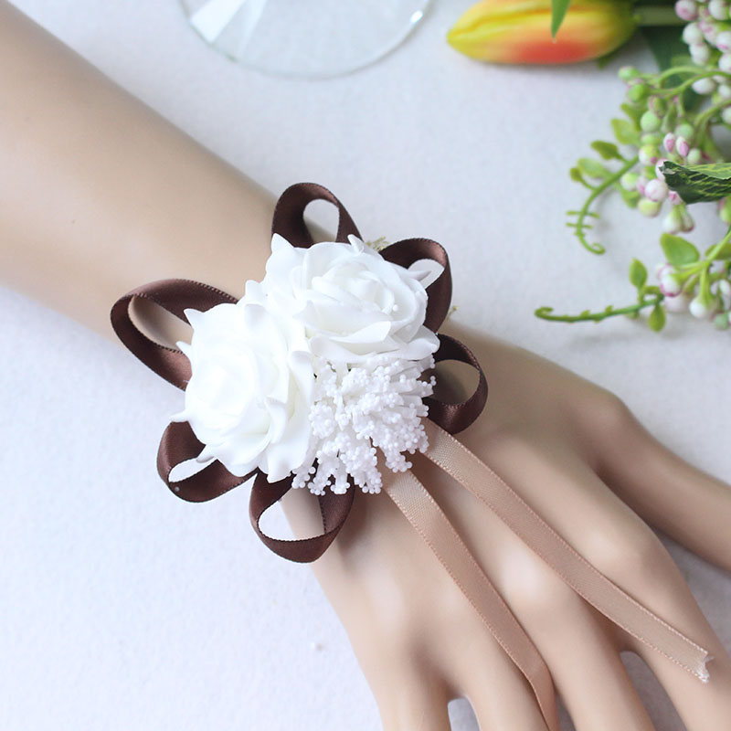 Wrist Flower Bridesmaid Hand Flowers wedding corsage  (11)