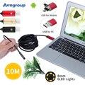 Novo Endoscópica Endoscópio 8mm PC USB Android HD 720 P 10 M USB Câmera de Inspeção Tubo de Câmera Endoscópio 6LED 2EM1 Android para telefone