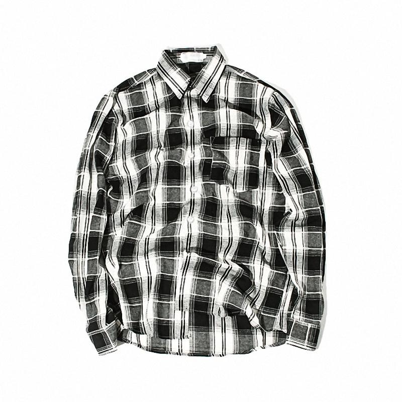1b6d25b6 2019 Fashion Black White Plaid Shirt Men Long Sleeve Shirt Men ...
