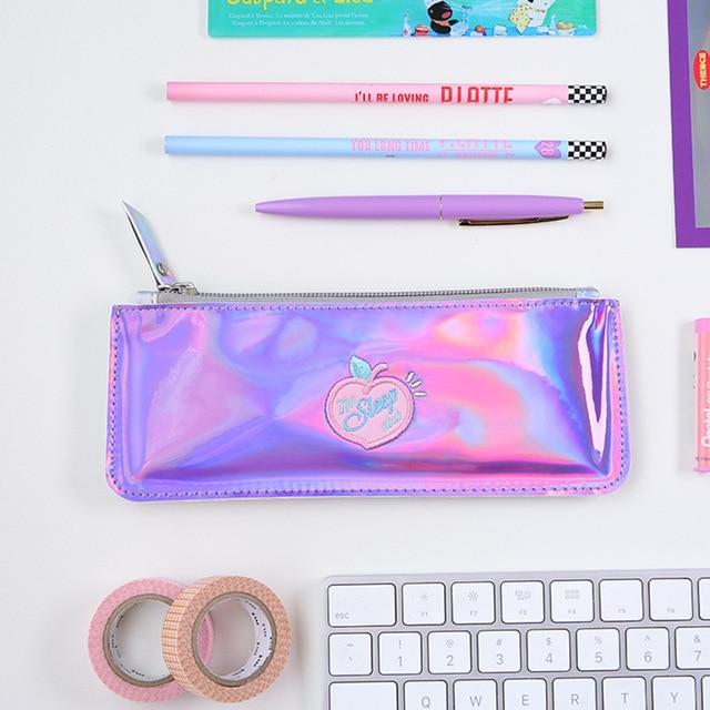 1 Pcs Kawaii Pencil Case Laser peach ins Gift Estuches School Pencil Box Pencilcase Pencil Bag School Supplies Stationery