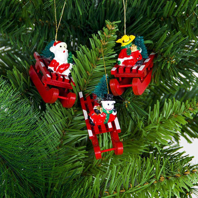 Năm Mới DIY Quà Giáng Bằng Gỗ Mặt Dây Chuyền Ông Già Noel Người Tuyết Với Xe Trượt Tuyết Giáng Sinh Cây Treo Đồ Trang Trí Cho Đảng Trang Trí Nhà SA010