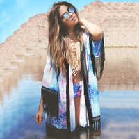 Women Blue Printed Chiffon Tassel Fringe Shawl Kimono Jacket Coat Blouse