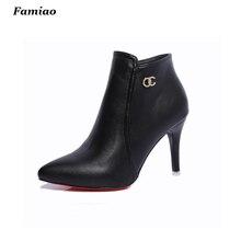 Botas mujer 2016 mujeres de la Marca botas elegante de cuero de la pu zapatos de mujer otoño invierno del dedo del pie puntiagudo zapatos de tacón alto tobillo martin botas